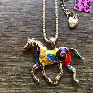 Colorful Betsey Johnson horse necklace NWT